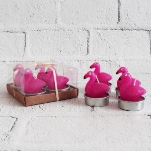 świeczki flamingi różowe zestaw