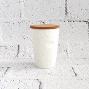 kubek ceramiczny biały z pokrywką