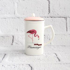 kubek ceramiczny z łyżeczką flaming biały