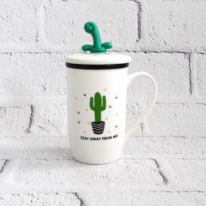 kubek ceramiczny z pokrywką i łyżeczką kaktus
