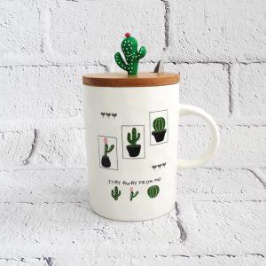 kubek z łyżeczką i pokrywką kaktus