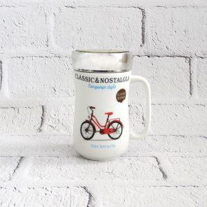 kubek z zakręcaną pokrywką rower