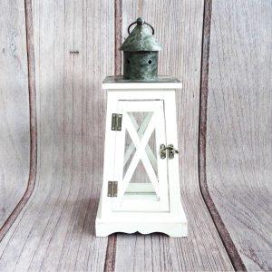 lampion dekoracyjny drewniany biały