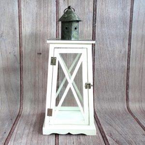 lampion dekoracyjny drewniany biały duży
