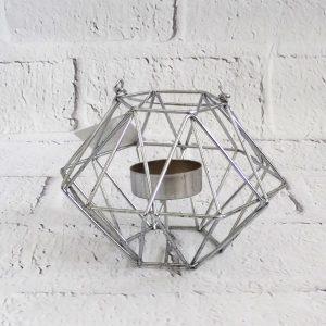 metalowy świecznik na podgrzewacze srebrny