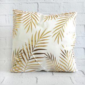 poszewka dekoracyjna na poduszkę złota liście