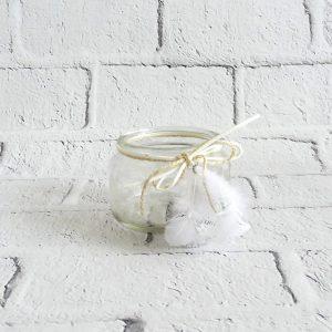 świecznik szklany na podgrzewacze ze sznurkiem