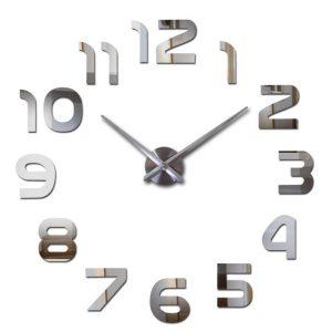zegar ścienny srebrny 3d diy naklejany srebrny