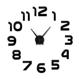 zegar ścienny czarny 3d diy naklejany