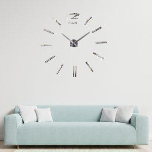 zegar ścienny duży 3d diy naklejany srebrny