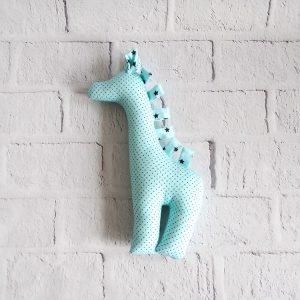 żyrafa z materiału w kropki rękodzieło