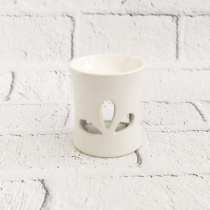 kominek ceramiczny na wosk biały