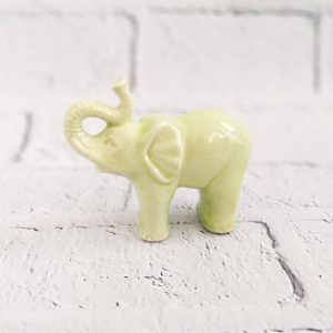 słoń figurka ceramiczna limonkowa