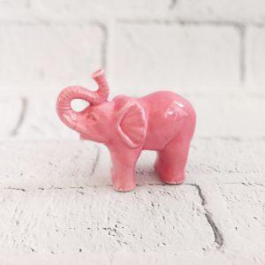 słoń figurka ceramiczna różowa
