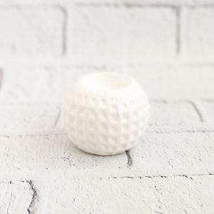Świecznik ceramiczny biały