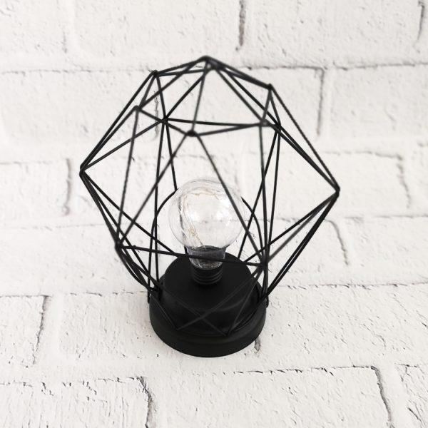 Lampka metalowa czarna LED - diament geometryczna