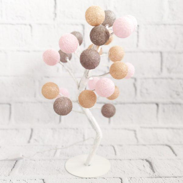 Lampka LED drzewko cotton balls dekoracyjne
